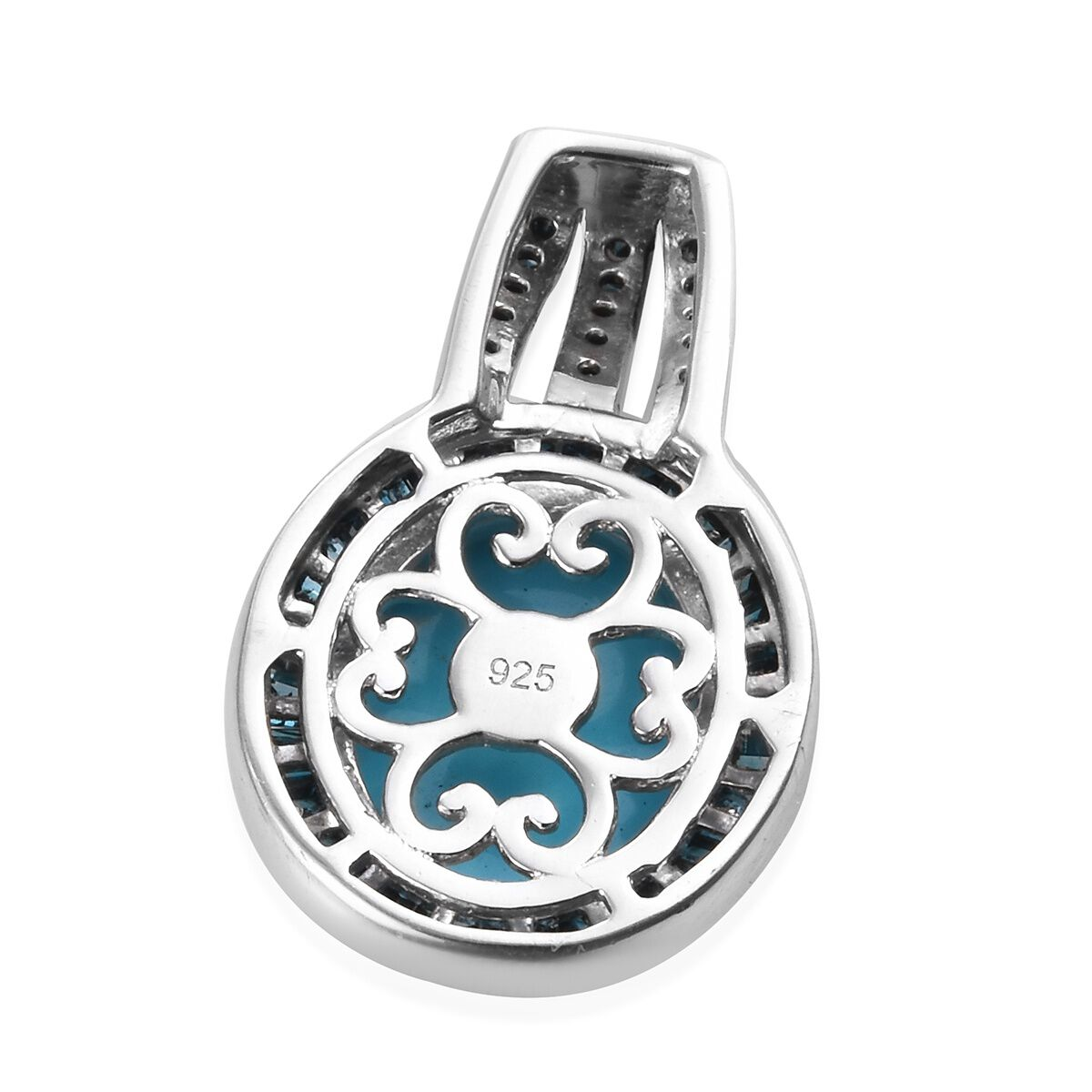 4.25 ct TJC Womens 925 Sterling Silver Platinum Plated Sleeping Beauty Turquoise Blue Diamond Halo Pendant
