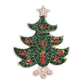 Multi Colour Austrian Crystal (Rnd) Christmas Tree Brooch in Rose Gold Tone