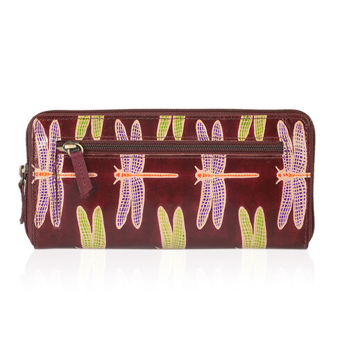 100% Genuine Leather Burgundy RFID Blocker Dragonfly Pattern Wallet (Size 22x11.50x2 Cm)