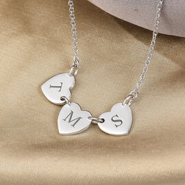 Personalised Initial Multi Heart Disc Necklace with 20Inch Chain