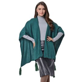 New Season Luxuriously Soft Sea Green Colour Wrap with Tassels