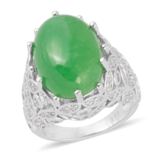 Green Jade (Ovl 18x13 mm), Natural White Cambodian Zircon Ring in Rhodium Overlay Sterling Silver 16