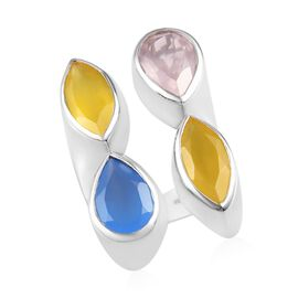 Sundays Child - Yellow Onyx, Rose Quartz and Blue Onyx Ring in Platinum Overlay Sterling Silver 18.3