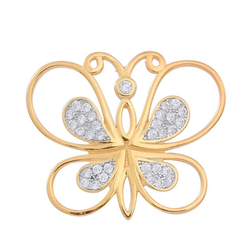 ELANZA AAA Simulated White Diamond (Rnd) Butterfly Pendant in 14K Gold Overlay Sterling Silver