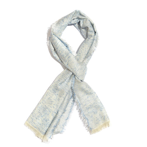 Aqua Colour Paisley and Floral Pattern White Colour Scarf (Size 180x70 Cm)