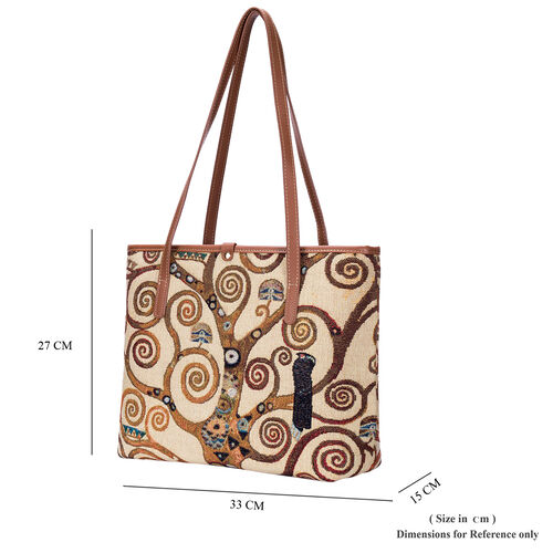 Signare Tapestry - 2 Piece Set - Gustav Klimt Tree of Life Shoulder Bag (Size 33x27x15 Cm) and Cosmetic Bag (Size 25x16x8 Cm) with Zipper Closure - Beige