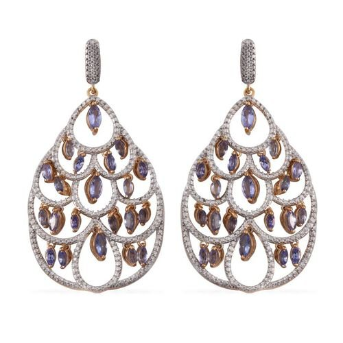 Tanzanite (Mrq) Earrings (with Push Back) in 14K Gold Overlay Sterling Silver 4.000 Ct.