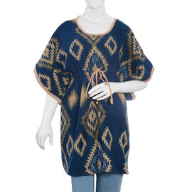 Designer Inspired -Teal Blue and Beige Colour Geometric Pattern Dress (Size 85x60 Cm)