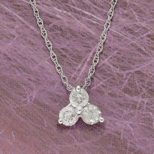 9K White Gold SGL Certified Diamond (Rnd) (I3/G-H) Trilogy Pendant with Chain (Size 18) 0.25 Ct.