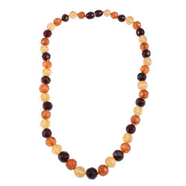 16 Inch Multi Colour Amber Beaded Necklace 80 Ct
