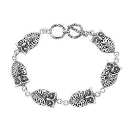 Royal Bali Collection - Sterling Silver Owl Charm Bracelet (Size 7.25-8), Silver wt 17.22 Gms