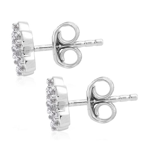 WEBEX- J Franics Platinum Overlay Sterling Silver Floral Earrings (with Push Back)
