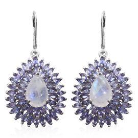 16 Ct Sri Lankan Rainbow Moonstone, Tanzanite Drop Earrings in Platinum Plated Silver 9.94 Grams