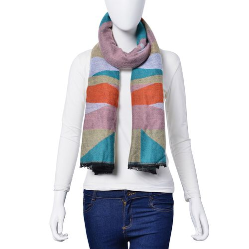 Pink, Green, Grey, Yellow and Orange Colour Block Pattern Scarf with Fringes (Size 190x65 Cm)