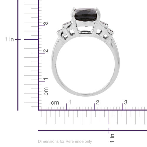 Boi Ploi Black Spinel (Cush 8.50 Ct) Ring in Rhodium Plated Sterling Silver 9.500 Ct.