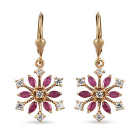 African Ruby (FF) Natural Cambodian Zircon Snowflake Lever Back Earrings in 14K Gold Overlay Sterlin