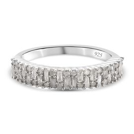 Diamond Ring In Platinum Overlay Sterling Silver 0.484  Ct.