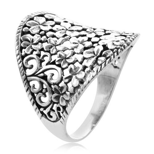Royal Bali Collection - Sterling Silver Plumeria Flower Ring