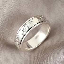 Sterling Silver Artisan Crafted - Sun & Moon Spinner Ring