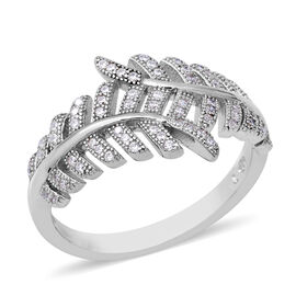ELANZA Simulated Diamond Leaf Ring in Rhodium Plated Sterling Silver