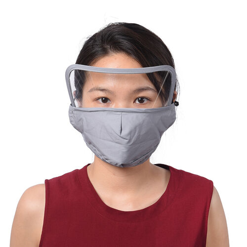 Reusable Face Covering with Eye Shield and Adjustable Ear Loop (Size 22x18cm) - Grey