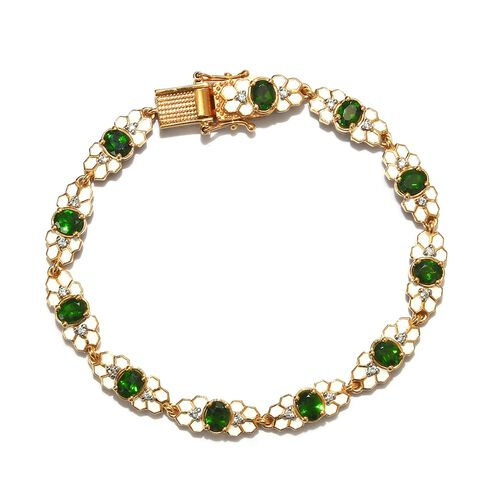Russian Diopside and Natural Cambodian Zircon Enamelled Bracelet (Size 7.5) in 14K Gold Overlay Ster