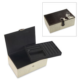2-Tier Dalmatians Pattern  Leather Jewellery Box with Magnetic Flap Closure and Velvet Lining (Size