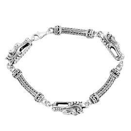 Close Out Deal - Hand Made Dragon Head Tulang Naga Bracelet (Size 8.00), Silver wt 24.30 Gms