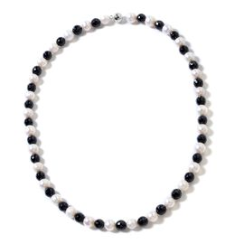 One Time Deal- Black Tourmaline (Rnd), Fresh Water White Pearl Beads Necklace (Size 20) in Rhodium Overlay Sterling Silver 254.00 Ct.