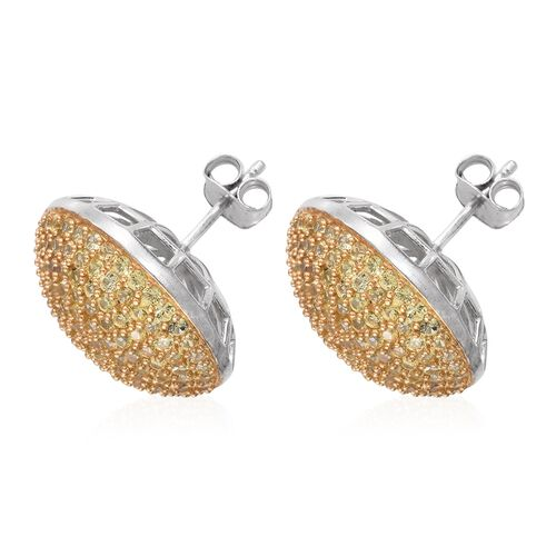 Chanthaburi Yellow Sapphire (Rnd) Stud Earrings (with Push Back) in Platinum Overlay Sterling Silver 5.250 Ct.No. Of Stones 250 Pcs