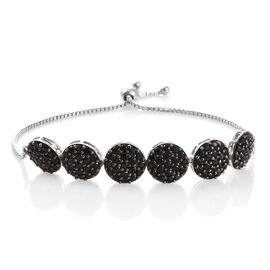 Red Carpet Collection- Pave Set Boi Ploi Black Spinel (Rnd) Bolo Bracelet (Size 6.5 - 9.5 Adjustable