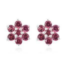 Rose Garnet Floral Stud Earrings (with Push Back) in Sterling Silver 1.00 Ct.
