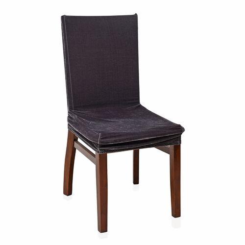 Set of 4 - Luxury Crush Velvet Elastic Dining Chair Cover in Grey Colour (Size 87x38 Cm)