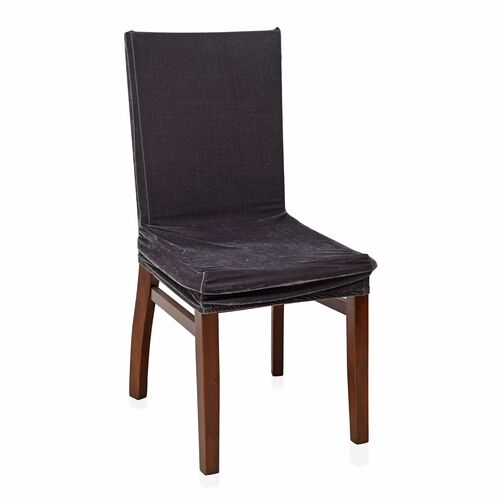Set of 4 - Luxury Crush Velvet Elastic Dining Chair Cover in Grey Colour (Size 87x38 Cm)