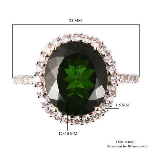 9K Yellow Gold Russian Diopside (Ovl 12x10mm), Natural Cambodian Zircon Ring 5.32 Ct.