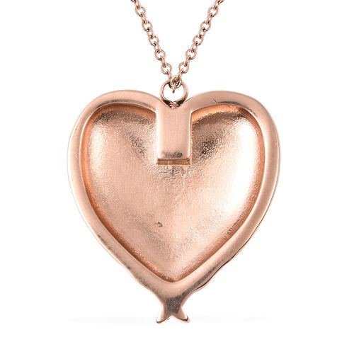 2 Piece Set - Heart Memorial Pendant with Chain (Size 20) and Funnel with Needle in Rose Gold Tone
