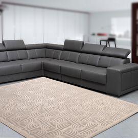 Vivaz Collection - Abstract Circular Geometric Pattern Jacquard Carpet (Size 140x200 Cm) - Ivory