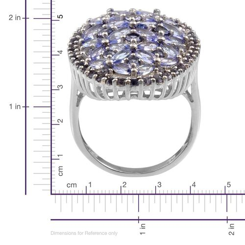 Tanzanite (Mrq), Iolite Ring in Platinum Overlay Sterling Silver 5.500 Ct.