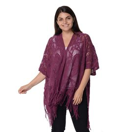 Knit Hollow Butterfly Pattern Kimono with Tassels (Size 85x65+14 Cm) - Purple