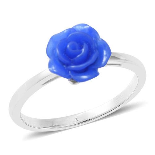 Rhodium Overlay Sterling Silver Flower Ring