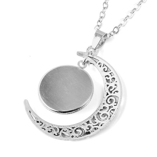 Pressed Flower Crescent Moon Pendant with Chain (Size 24 with 2 inch Extender) in Silver Tone