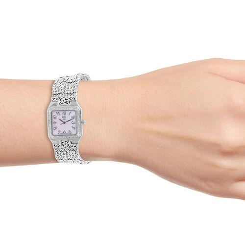 Royal Bali Collection EON 1962 Swiss Movement Sterling Silver MOP Tulang Naga Bracelet Watch (Size 7.5), Silver wt 69.46 Gms.