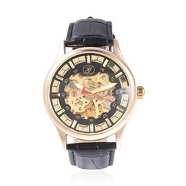 GENOA Automatic Skeleton Water Resistant Watch in Dual Tone with Leather Strap - Black