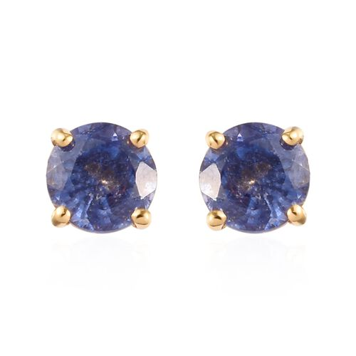 Blue Sapphire Stud Earrings (with Push Back) in 14K Yellow Overlay Sterling Silver 1.50 Ct.