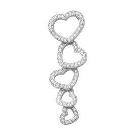ELANZA Simulated Diamond Heart Drop Pendant in Sterling Silver