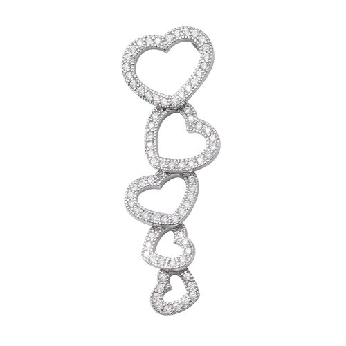 ELANZA Simulated Diamond Heart Drop Pendant in Sterling Silver