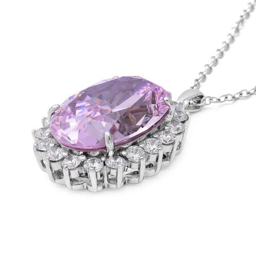 One Time Close Out Deal- Swiss Star Simulated Pink Diamond (Ovl 28x20mm), Pendant with Chain (Size 30) in Sterling Silver Total Carat Wt 100 Cts., Silver wt 18.00 Gms