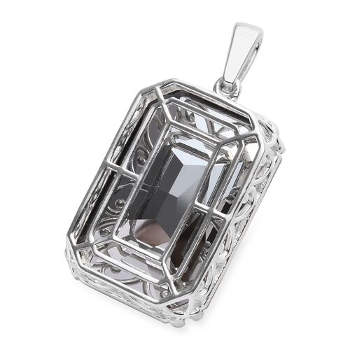 J Francis - Crystal from Swarovski Bermuda Blue Crystal (Oct 37x25.5 mm) Pendant in Platinum Overlay Sterling Silver, Silver wt 9.00 Gms