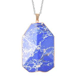 100 Ct Blue Imperial Jasper Solitaire Pendant with Chain in Gold Tone