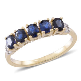9K Yellow Gold AAA Australian Blue Sapphire (Ovl), Diamond Ring 1.750 Ct.
